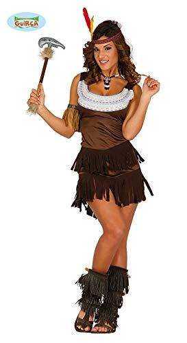 Indianerin Kleid Squaw Karneval Motto Party Kostüm für Damen Wilder Westen braun Gr. S-M, - Wilder Westen Damen Kostüm