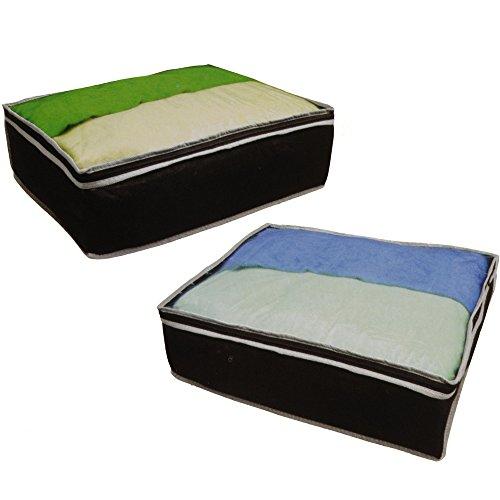 JEMIDI Aufbewahrungstaschen für Bettdecke Unterbettkommode Unterbett Tasche Aufbewahrung Kasten Bettkasten ca. 45cm x 35cm x 15cm (2er Pack)