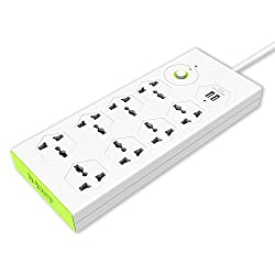 Tukzer 8 Way+2 USB Port Spike Guard / Surge Protector
