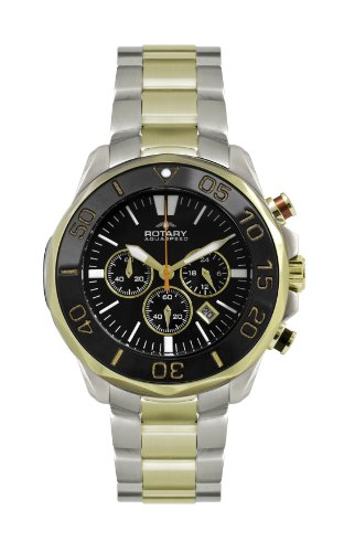 Rotary-Mens-Quartz-Watch-with-Black-Dial-Chronograph-Display-and-Two-Tone-Stainless-Steel-Bracelet-AGB00067C04
