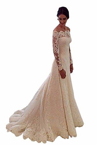 Cloverbridal Damen Hochzeitskleider A Linie Elegant Lange Ärmel Spitze Von der Schulter Brautkleider mit Zug  Bitte beziehen Sie sich nicht auf das Größentabelle von Amazon. Bitte achten Sie auf die Größentabelle auf der linken Seite und messen Sie s...