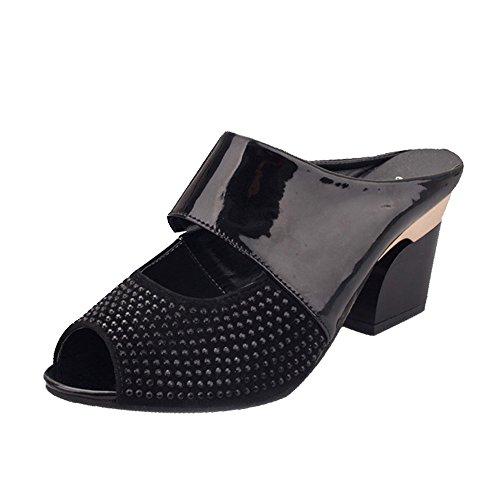 Longra Donna Colore Tutto-fiammifero comodo con i sandali spessi Nero