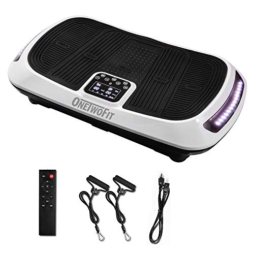 ONETWOFIT Fitness Vibrationsplatte mit Doppel-Motor, 3D Vibrations-Platte Ganzkörper-Vibrationstraining Fitnessgerät Workout Trainer für zu Hause mit Bluetooth Lautsprechern Teppich OT107