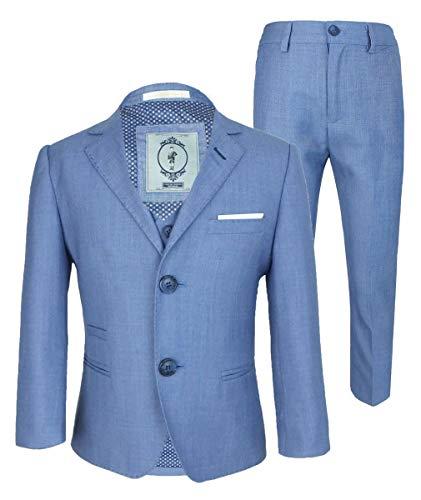 Blue Jay Designer Cavani Slim Fit Hochzeitsanzug für Jungen 3 Stück Himmelblau 7 Jahre - 3 Stück Drei Stück Anzug