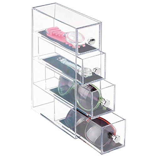 mDesign Modeschmuck-Organizer für Armbänder, Uhren, Sonnenbrillen, Brillen - 4 Drehbare Schubladen, Durchsichtig/Schwarz