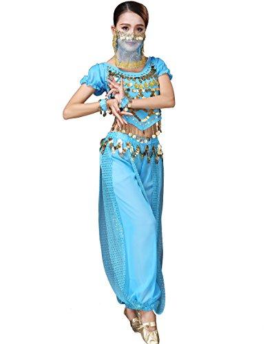 nce Tribal Bauchtanzkostüm Halloween Festival Show Kostüme Himmelblau ()