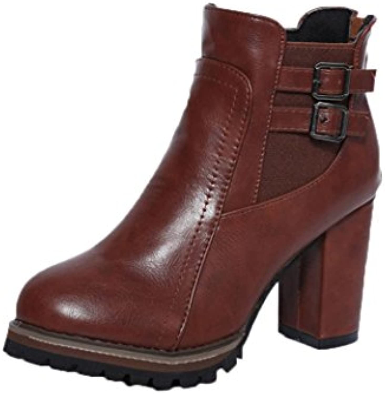 Sky Botas, Botas de Tacón Alto Para Mujer Botas de Tacón Alto Para Mujer 9cm Heel Height Otoño Invierno (39, Marrón) -