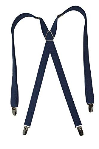 Bretelles Classique 'X' entièrement réglable Modèle 'Skinny' avec 4 Clips - 2cm. Bleu