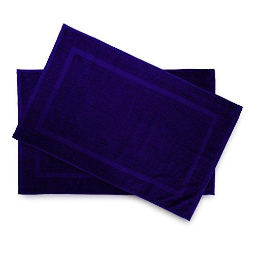 Frottee-handtücher Bad (Lumaland Premium 2er Set Badematte Frottee 50 x 80 cm aus 100 % Baumwolle 650 g/m² rutschfest waschbar navy blau)