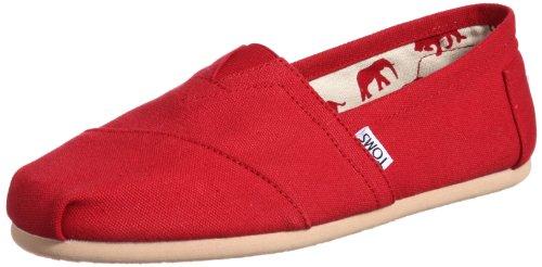 TOMS Women's 001001b07-red Red Canvas Wm CLSC Alpargata Flat Canvas Womens Schuhe
