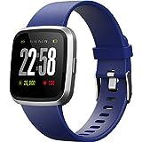 2019 Smartwatch H4 Farbdisplay IP67 Wasserdicht Smart Watches Herzfrequenz Blutdruck Schlaf Gesundheitsmonitor Fitness Activity Tracker Laufen Sport Watch Vergleich mit Android & iOS Handys, blau