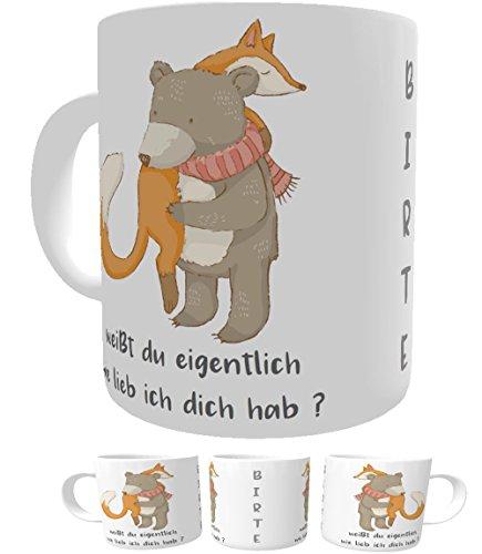 Kinderlampenland Namens-Tasse I Weißt du eigentlich wie lieb ich Dich hab I Bär und Fuchs I Kakaotasse I Kaffee-Tasse I Nostalgie Tasse - Einen Wie Schneemann Man