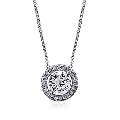 CARAT* London Women's Sterling Silver Brilliant Cut Stone 1.25 ct Border Set Pendant of Necklace Length 45 cm