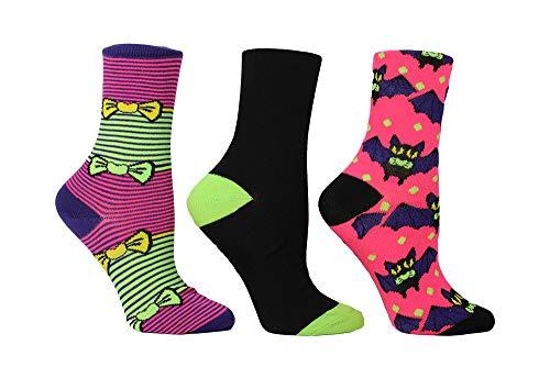 Betsey Johnson Damen Halloween Crews BJ42273 Socken, Yellow, Black/Lime Green, Einheitsgröße