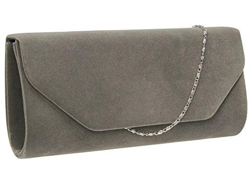 SwankySwansIsabella Velvet Envelope In B - Sacchetto donna Grey