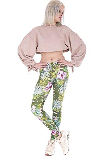 Loomiloo® Leggings für Mädchen und Damen - Beste Qualität mit coolen Motiven - Boho Ibiza Sommer Style - Blickdicht & Passgenau Tropical Flowers