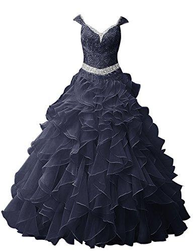 Dresstells, Robe de soirée Robe de cérémonie Robe Quinceanera organza forme marquise longueur ras du sol Champagne