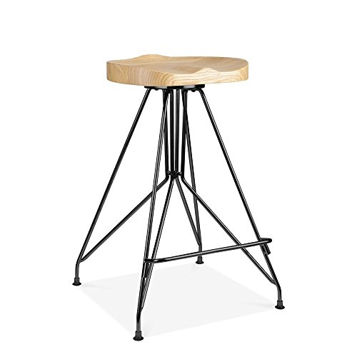 Cult design tabouret de bar en métal moda cd1 assise en bois frêne noir