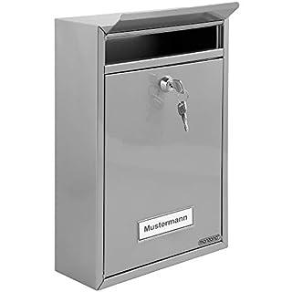 Briefkasten Silber | inkl. 2 Schlüssel | Namensschild | abschließbar | witterungsfest | Mailbox Briefkastenanlage Postkasten Stahl