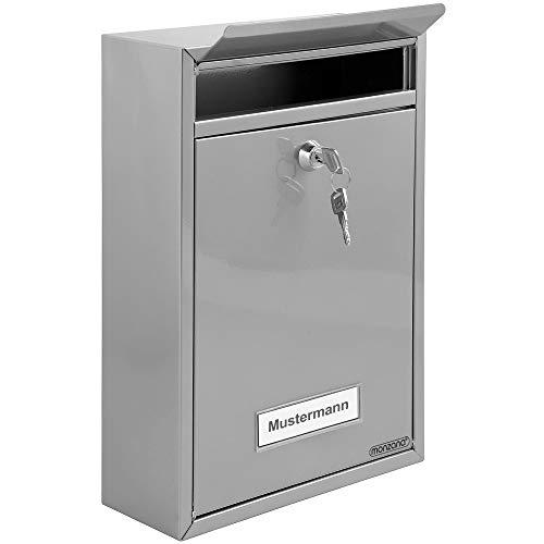 Briefkasten Silber | inkl. 2 Schlüssel | Namensschild | abschließbar | witterungsfest | [Farbauswahl] Mailbox Briefkastenanlage Postkasten Stahl