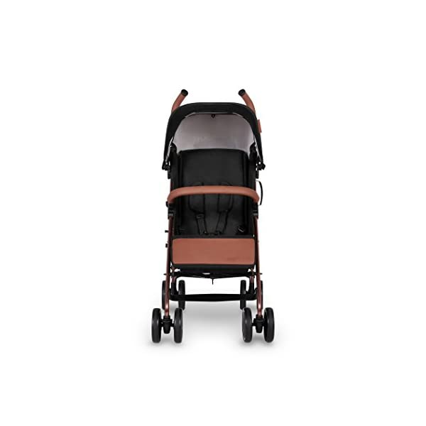 Ickle Bubba Baby Discovery Stroller| Lightweight Stroller Pushchair | Compact Fold Technology for Easy Transport and Storage | UPF 50+ Extendable Hood | Black/Rose Gold Ickle Bubba ONE-HANDED 3 POSITION SEAT RECLINE: Baby stroller suitable from birth to 20kg-approx. 4 years old; features rain cover UPF 50+ RATED ADJUSTABLE HOOD: Includes a peekaboo window to keep an eye on the little one; extendable hood-UPF rated-to protect against the sun's harmful rays and inclement weather LIGHTWEIGHT DESIGN WITH COMPACT FOLD TECHNOLOGY: Easy to transport, aluminum frame is lightweight and portable-weighs only 7kg; folds compact for storage in small places; carry strap and leather shoulder pad included 3