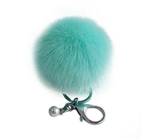 Ularma Fourrure de lapin fausse balle Keychain sac porte-clés peluche voiture voiture pendentif clé Vert