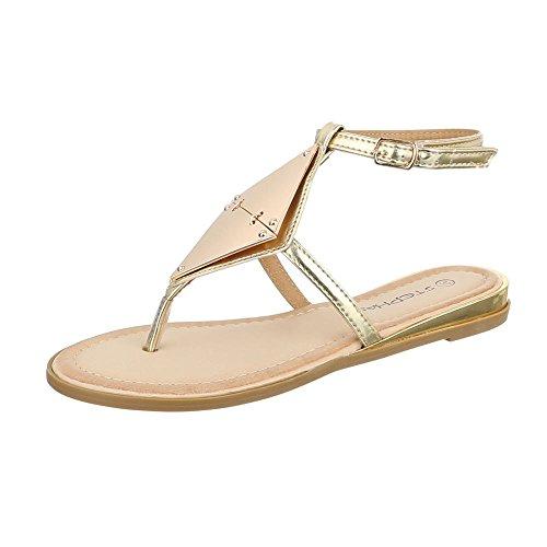 Zehentrenner Damen Schuhe Peep-Toe Zehentrenner Schnalle Ital-Design Sandalen / Sandaletten Gold