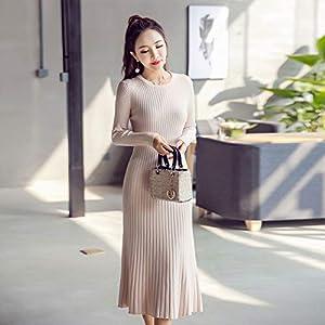 AGZDQTWVHerbst Winter A-Linie StrickwarenOansatz StrickkleiderFrauen Farbe Mode Pullover Kleid