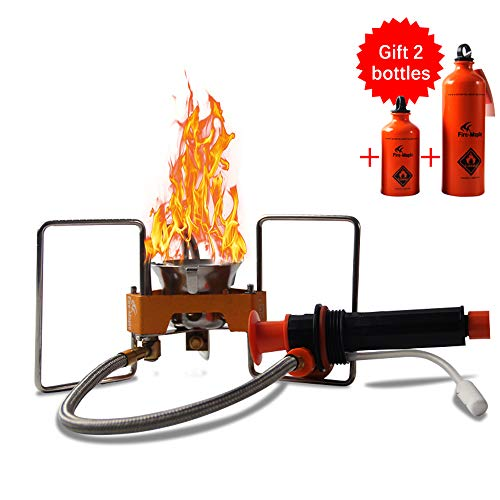 Lixada Stufa a Gas da Campeggio,Leggero BBQ da Esterno Picnic Camping Split Oil Fornello a Benzina + 330ml e 750ml Bottiglie di Combustibile Vuote