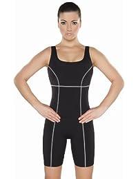 Shepa Damen Badeanzug mit Bein Schwimmanzug Knielang M046 Schwarz