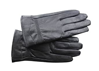 ATHN Women's Black Winter Genuine Leather Plush Lined Windproof Driving Casual Gloves