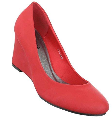 Damen Pumps Schuhe High Heels Keil Wedges Schwarz Beige Blau Rot 36 37 38 39 40 41 Rot