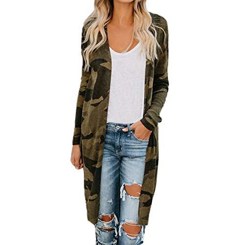 SMILEQ Ausverkauf Damen Frauen Frühling Herbst Lange Strickjacke Camouflage Langarm Mantel Parka Oberbekleidung (M, Tarnen)