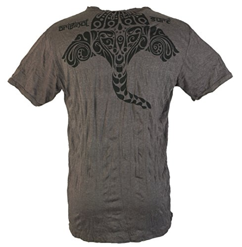 Guru-Shop Sure T Shirt Tribal Ganesha, Herren, Baumwolle, Sure T-Shirts Alternative Bekleidung Coffee