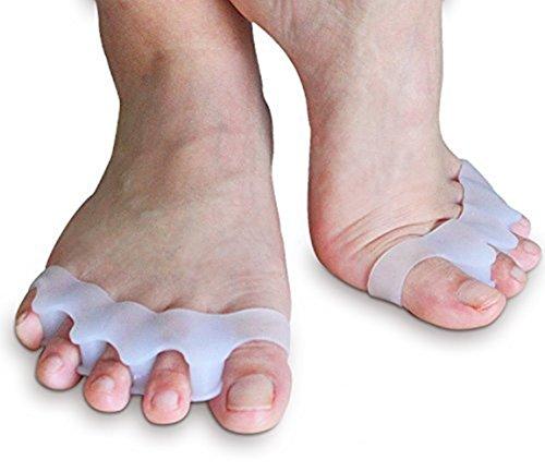 Preisvergleich Produktbild 4x Zehenspreizer gegen Hallux Valgus Krallenzehen Bandage Korrektur Separator Zehentrenner Schiene aus weichem Softgel-Silikon für Damen und Herren Hautfreundlich und BPA Frei - Für Schuhe auch als Einlage geeignet