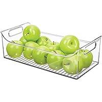 MetroDecor mDesign Caja para Nevera con Asas – Organizador de frigorífico Largo para almacenar Alimentos –