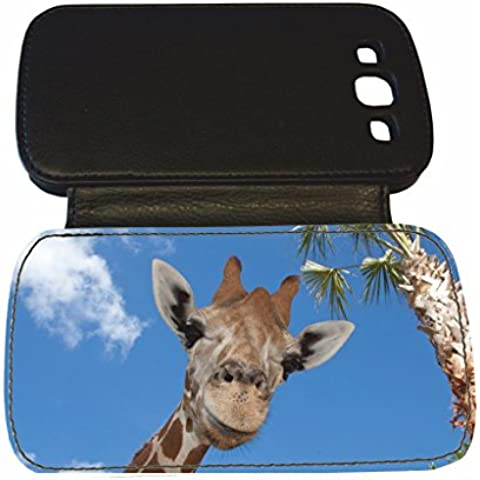 SAMSUNG S3 jirafa de piel sintética color negro tapa de 8#