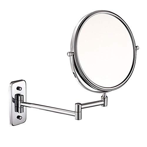 MRJ 8inch Wand Kosmetikspiegel Wandmontage 10 Fach + normal Zweiseitiger Schminkspiegel Rasierspiegel Wandspiegel Badspiegel für Schmink und Rasier (Vergrößerungsspiegel Wandhalterung)