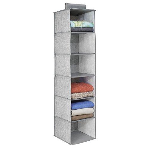 mDesign Organizador de tela para colgar en la barra del armario – Estantería colgante para guardar ropa y accesorios – Práctico armario de tela con 6 estantes ideal como organizador de ropa – gris