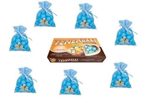 24 Tüllbeutel Prima Kommunion hellblau 1 kg Konfetti Tenerelli Snob Rosa ADDOBBI TAVOLA FESTA - Kit Cdc- (24 Beutel + 1 kg Haselnuss)