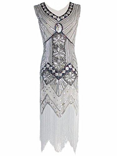 LANISEN Damen Vintage Paillette Abendkleid Gatsby Flapper Kleid Partykleid Silber DE (Silber Flapper Kleid)