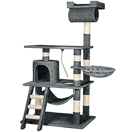 TecTake Rascador Árbol para gatos 86x49x141cm - disponible en diferentes colores - (gris | no. 402275)