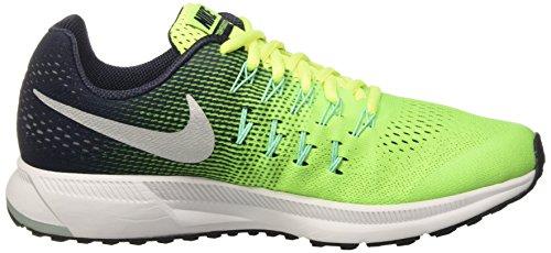 Nike Zoom Pegasus 33 Gs, Scarpe da Corsa Bambino Multicolore (Volt/Metallic Silver/Obsidian/Green Glow)