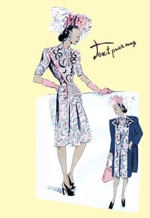 Feelingathome-Leinwand-Bild-Paisley-Kleid-mit-Hut,-Handschuhe-und-Jacke,-1947-cm50x33-Kunstdruck-auf-Leinwand