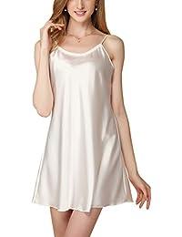 Dolamen Camisón para mujer, Mujer Cordón Corto Camisones raso Satin Pijamas, lencería Spaghetti Strap Babydoll Satén Neglige Lencería Ropa de Dormir