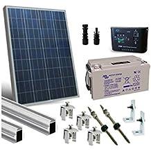 PuntoEnergia Italia - Kit Solar Lux 100W con Estructura de Montaje en Tejado Inclinado Bateria 90Ah