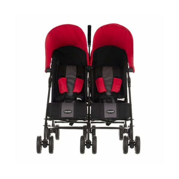Obaby Apollo Black & Grey Twin Stroller (Red) Obaby Suitable from birth to a maximum weight of 15kg Independently adjustable multi position seat units Independently adjustable hoods 2