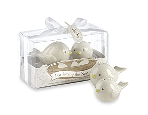 Feathering nid d'oiseaux en céramique sel et poivre de mariage-Lot de 24