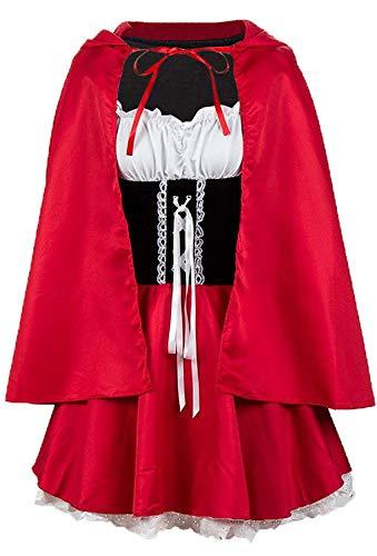 MAGIMODAC Damen Faschingskostüme Karnevalskostüm Fasching Karneval Party Kleid Cape Poncho Umhang Märchen Kostüm Kostüme Minikleid EU36-52 (Rot, XL/EU 42) (Kleid Frau, Hübsche Rotes Halloween-kostüm)