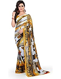 Anand Sarees Women's Faux Georgette Printed Yellow Color With Blouse Piece ( 1352 )